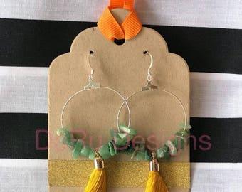 Silver hoop earrings with jade crystal stones and mustard tassel