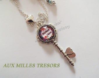 Long necklace silver keys Mommy