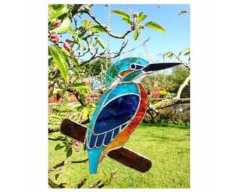 Stained Glass Kingfisher Suncatcher decoration