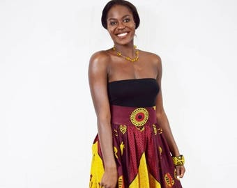 Samantha Yellow and Red Arrow African Wax High Waist Dirndl Skirt, Short Ankara Skirt - Made to Order