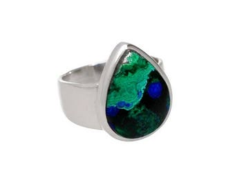 On Sale Azurite malachite ring, sterling silver, blue ring, malachite ring, azurite jewelry, gemstone ring, stone ring, blue green stone, st