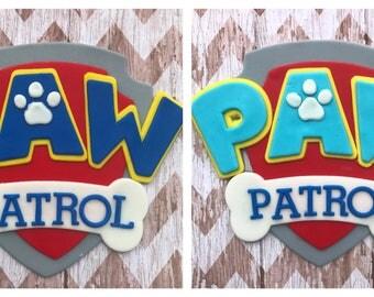 Fondant Paw Patrol logo cake topper