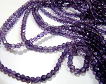 Best Quality Natural Genuine Amethyst Gemstone Round Faceted Beads 3-4mm, Gorgeous quality Israel Cut Beads, AFRICAN AMETHYST Strand 13 inch