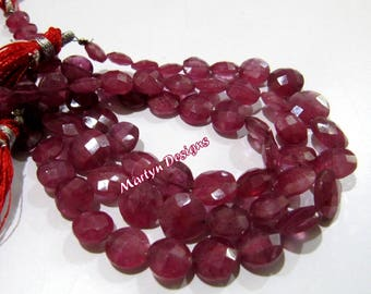 Rare And Exclusive Natural Ruby Coin Beads , Ruby Round Briolette Beads 8x11mm Graduated Strand 8 Inches Long Approx Precious Faceted Beads