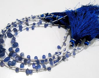 Best Quality Genuine Tanzanite Drop Shape Beads , Tanzanite Briolette Beads , 8 inch long Strand , Size  3x5 to 11x7mm Long, Graduated Beads