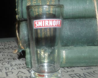 Vintage (c.mid-late 1980s) Smirnoff Vodka etched and embossed glass shot glass | shooter. Commercial quality.