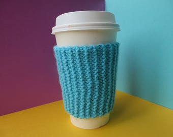 Blue Coffee Cup Sleeve | Hand Knit Cup Cosy | Fits Starbucks Cup | Gifts For Her | Stocking Fillers | Tea Cosy | Knit Coffee Cosy