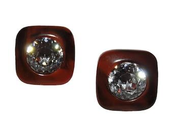 Lanvin Brown Swirl Bakelite Headlight Rhinestone Earrings