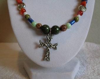 Celtic Cross on Celtic Style Beaded Necklace