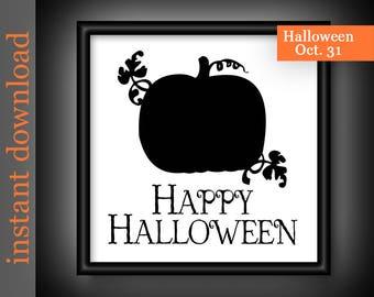 Halloween Printable, Halloween Download, Happy Halloween, Halloween art, pumpkin decor, pumpkin art, pumpkin silhouette,Halloween typography