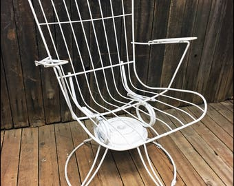 Vintage HOMECREST PATIO CHAIR Swivel White Mid Century Modern Porch Metal  Bounce Lounge Lounger Outdoor