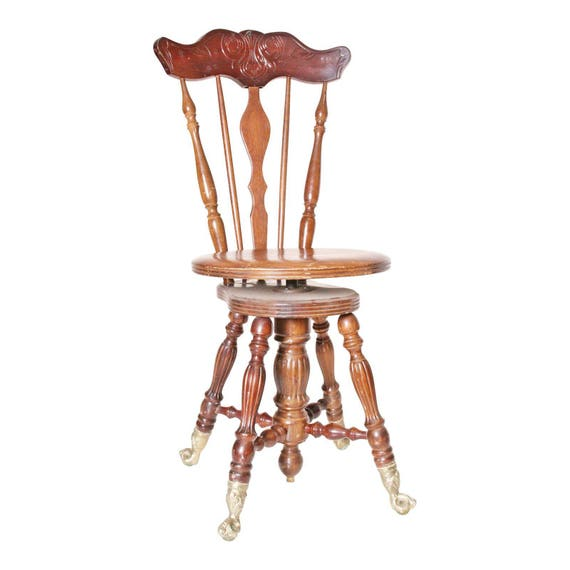 Antique Piano Stool Ball Amp Claw Foot Swivel Chair Victorian