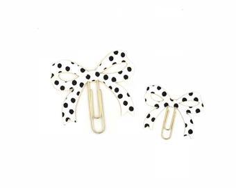 Cream PolkDot Bow Paper Clip