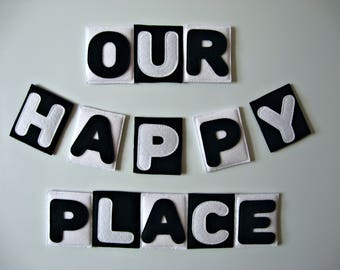 Our happy place  -  Felt Fridge magnets -  kitchen Decor - Home sign