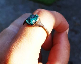 Dioptase stone natural green copper ring