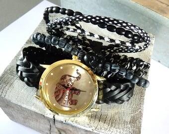 Watch illustration cat multicolor and gold Brazilian bracelet - adjustable wrist show ethnic bohemian