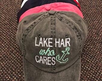 Lake/River/Kayak/Beach/Jeep/Runner Hair/Etc. Who Cares Hat