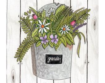 Garden Bucket-Original Artwork Print