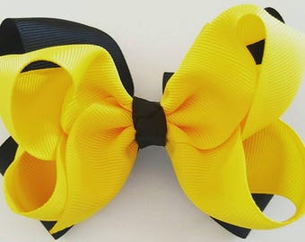 Baby/Toddler/Girl/Adult 4.5 Inch Double Boutique Hair Bow on French Barrette  - Emma Style/Inspired- Yellow & Black