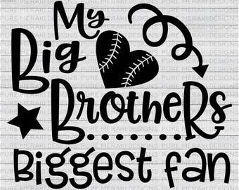 Baseball Sister SVG, Baseball Brother SVG, Biggest Fan Svg, Baseball Heart SVG, Baseball Star Svg, Sports Svg, Athlete Svg, T-Shirt Svg