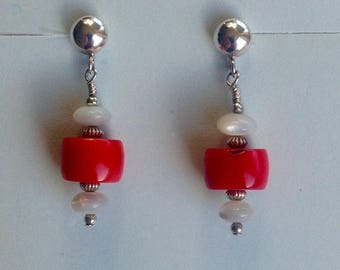 Coral and Mother of Pearl Earrings