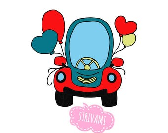 Car cookie cutter, Car with balloons cookie cutter,Party Cookie Cutter,Wedding car cookie cutter, Valentines day cookie cutter