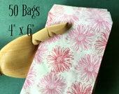 Pink Floral Print Bags (50) - 4x6 Merchandise Bags Packaging Feminine Pretty Flowers Wedding Favor Bags Treat Bags Gift Bags Mini Paper Bags