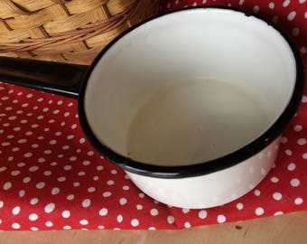 Vintage Enameled Black and White Metal Pot, Retro Kitchen Decor