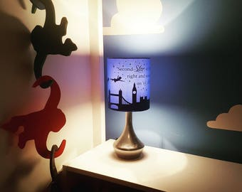 Peter pan bedside/reading lamp includes; Peter, Wendy, John and Michael flying over London