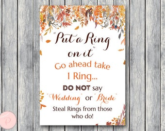 Autumn Fall Leaves Put a Ring on it Game, Bridal Shower Games, Dont Say Bride Game, Don't Say Game, Bridal Shower Game, Download WD84 TH47