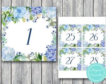 Blue Hydrangea Floral, Wedding Table Numbers Printable, DIY Table Number Sign, Wedding Table Numbers - Digital File, DIY Print TH84 TN36