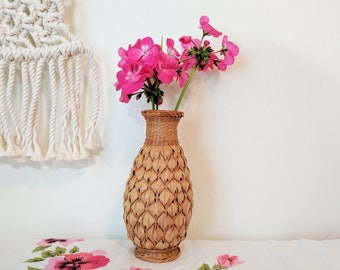 Woven Vase / Ceramic Vase with Woven Cover / Bohemian Vase