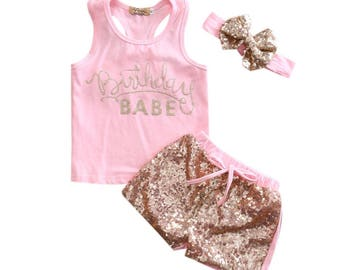 3PC Birthday Babe Outfit With Matching Headband Pink Gold Glitter Sequin Shorts
