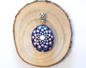 Mandala Painted Stone Pendant Hand Painted Dot Art Dotillism Dot Painting