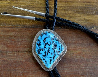 Navajo BR Sterling Silver and Turquoise Bolo Tie