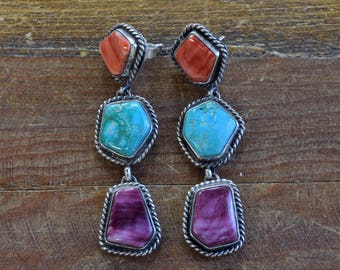 Vintage Turquoise and Spiny Oyster Sterling Silver Earrings