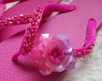 Hot pink flip flops size 7 floral