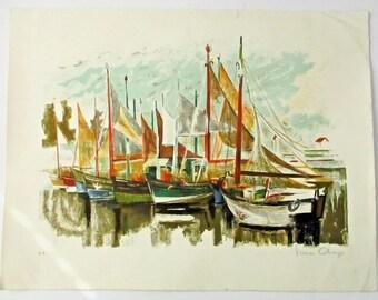Mid-Century Modern SIMON CHAYE Sailboats Lithograph Signed EA Artists Proof Maritime Print Sailboats Harbor