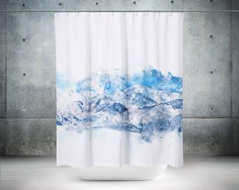mountain shower curtain scenic shower curtain blue shower curtain blue bathroom decor