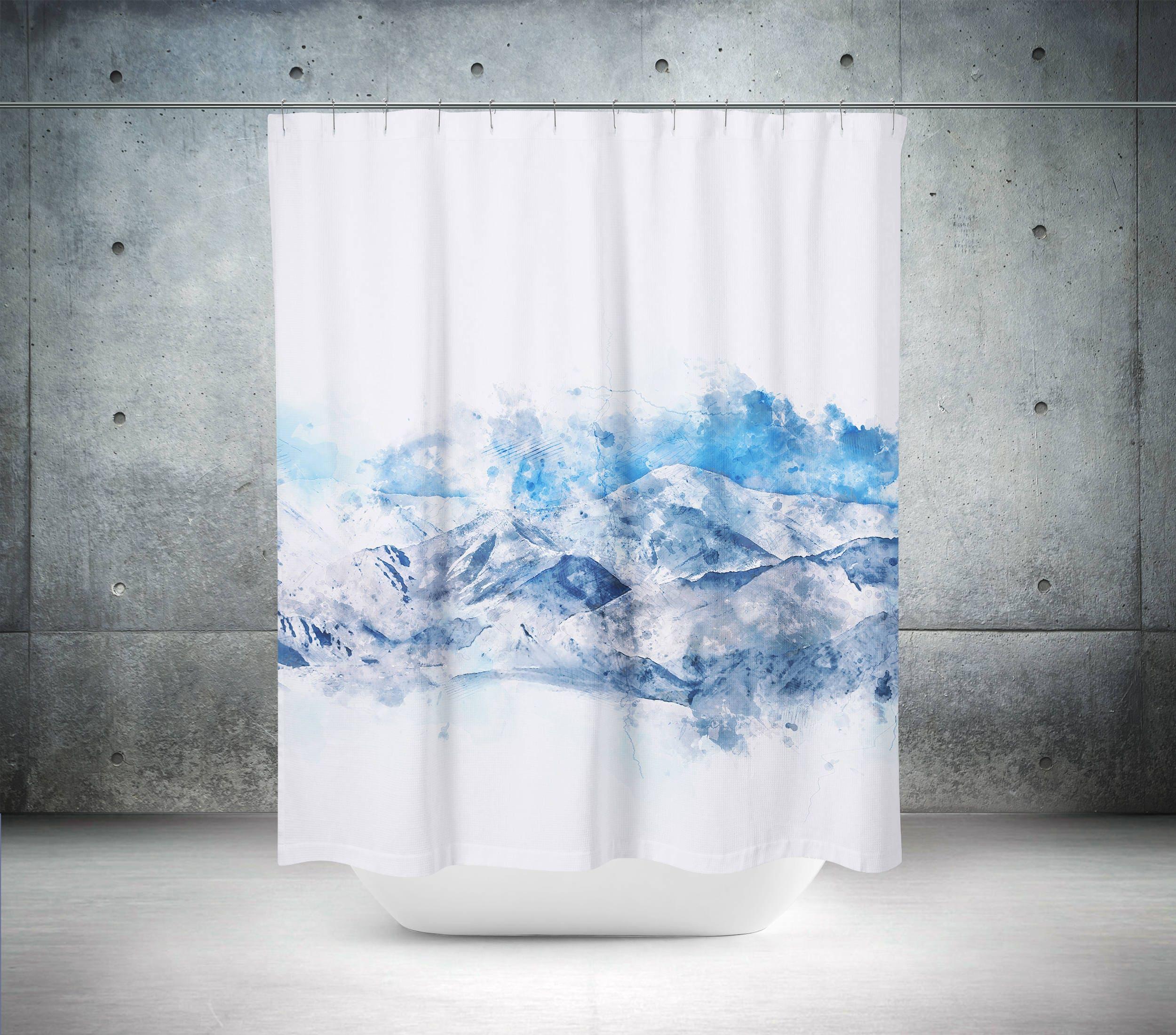 Mountain Shower Curtain Scenic Shower Curtain Blue Shower
