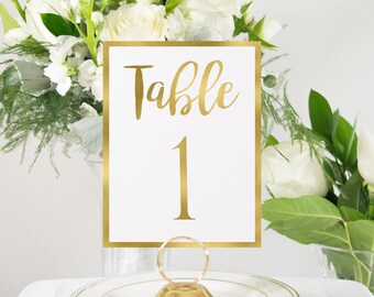Gold Foil Table Numbers Handmade Wedding Style #0102