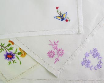 Cake napkins, small napkins, hand embroidered, assorted mix and match set of four, floral, linen.