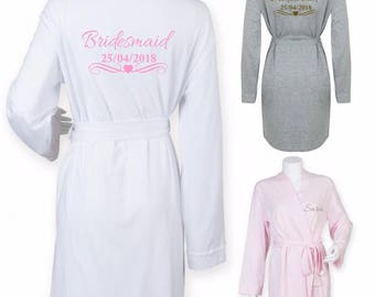 Ladies Womens Custom Bridesmaid Dressing Gown Kimono Robe Bridal Wedding Day Shower Gift Hen Party