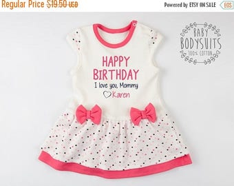 LATE SHIP SALE Happy Birthday I Love You, Mommy/Mummy/Daddy/Papa/Grandma/Grandpa/Auntie/Uncle  Personalized Pink/Cream/Polka Dots Bodysuit D