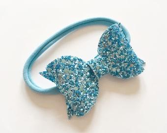 Chunky turquoise/aqua glitter bow on nylon headband - baby toddler headbands, one size headband