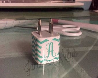 Wall Charger Personalized Decal | vinyl sticker for phone charger | personalized gift | chevron