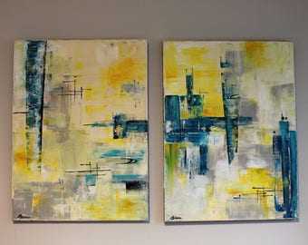 Twin mid-century modern abstract paintings