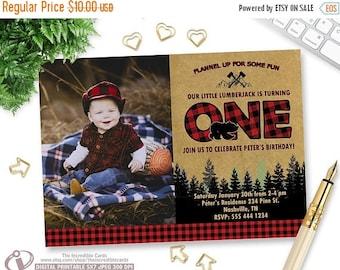 ON SALE LUMBERJACK Photo Invitation, Lumberjack First Birthday Invitation, Lumber Jack, Forest, Wood, Plaid, Wilderness, First Birthday, Pri