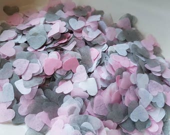 White, Baby pink (light,soft),grey heart confetti !Wedding,party decoration,throwing! Romantic colours ,summer Biodegradable 2- 10 handfuls