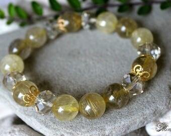 12mm Gold Rutilated Quartz Bracelet, Golden Rutilated Quartz Jewelry, Golden Rutile Quartz Bracelet, 12mm Rutile Quartz Bracelet, Venus Hair